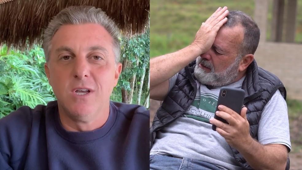 Renato Lagatta, o Doutor Honesto é surpreendido por Luciano Huck no 'Caldeirão' — Foto: Globo