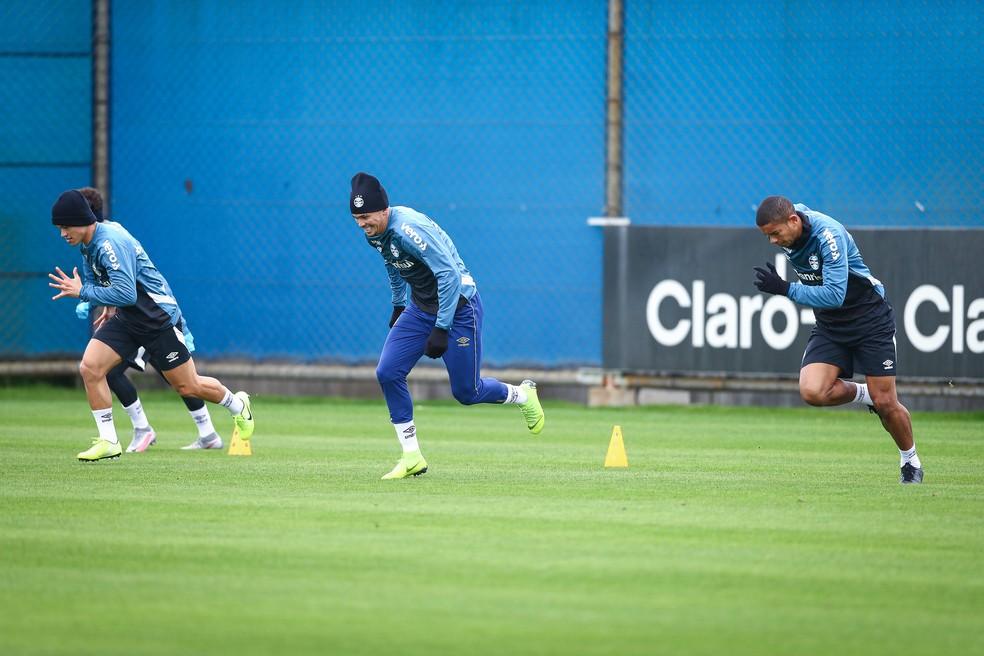 Grêmio abriu a 10 semana de treinos físicos desde o retorno às atividades — Foto: Lucas Uebel/Divulgação Grêmio