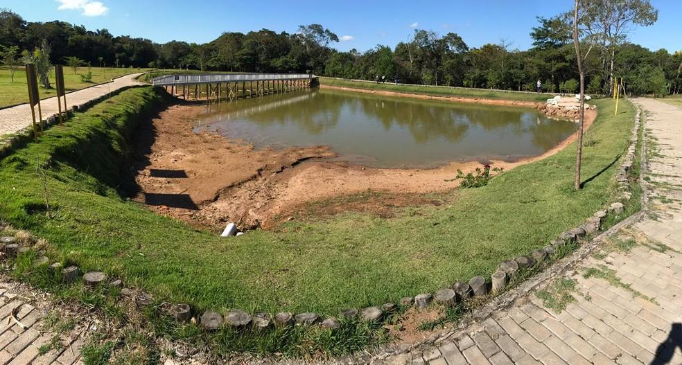 Lago começou a secar, após furto de cano  — Foto: Ricardo Araújo/Rede Amazônica