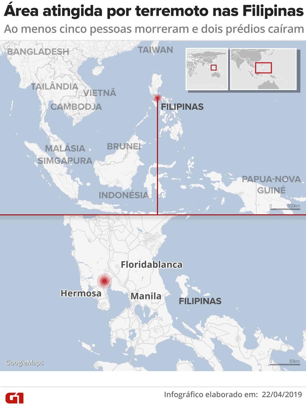 Local atingido por terremoto nas Filipinas — Foto: Wagner Magalhães/ Arte G1