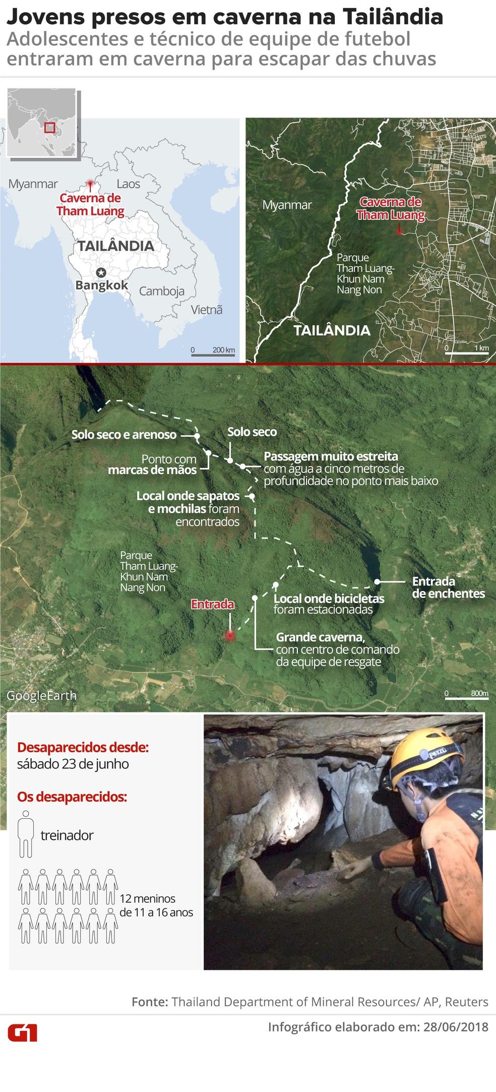 Mapa mostra caverna de Tham Luang, onde jovens ficaram presos (Foto: Juliane Monteiro/G1)