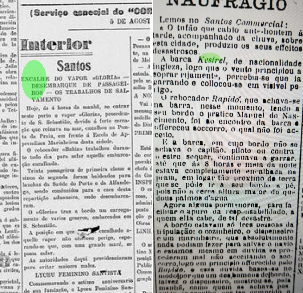 Informações de jornais da época ajudam nas investigações em Santos, SP (Foto: Reprodução)