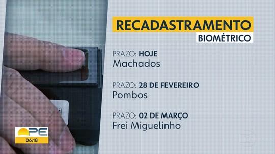 Cadastramento biométrico em Machados termina nesta sexta; veja prazos em Pernambuco
