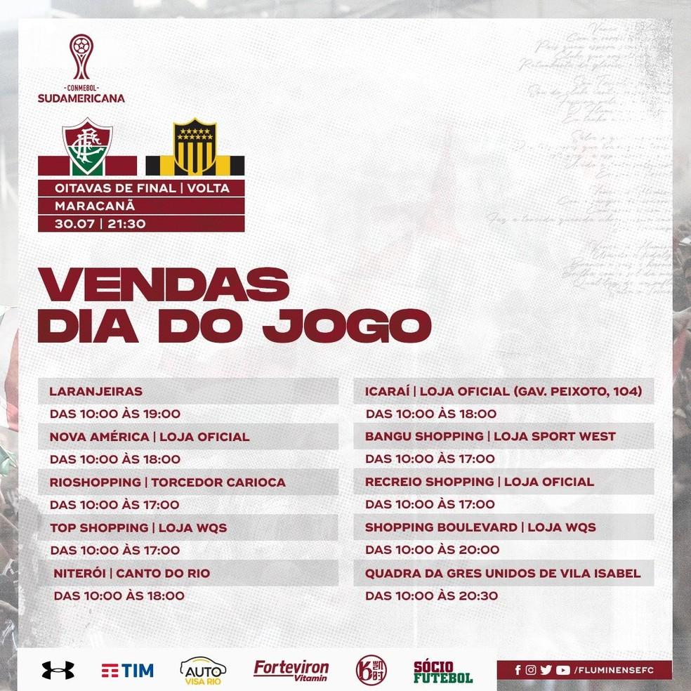 Vendas de ingressos para Fluminense x Peñarol no dia do jogo — Foto: Reprodução