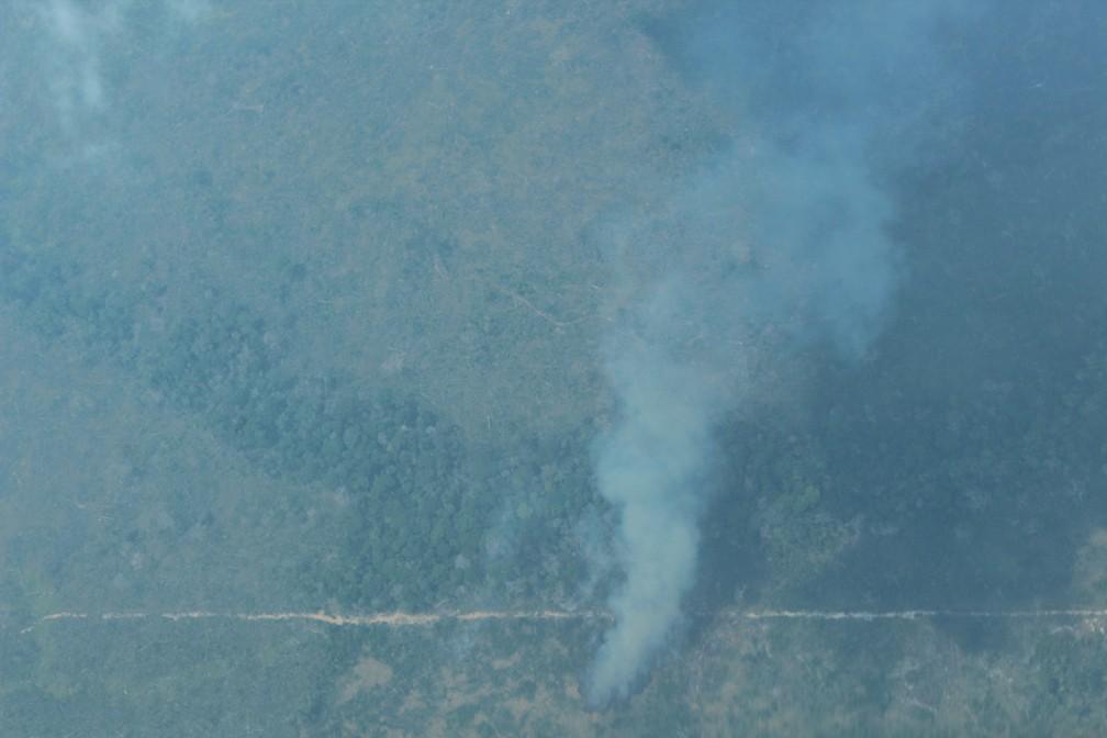 Foco de incêndio no sul do Amazonas — Foto: Jonatas Boni/G1