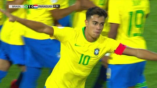 Veja os belos gols de Reinier (dois) e Peglow em Brasil 3 x 2 Paraguai, pelo Sul-Americano Sub-17