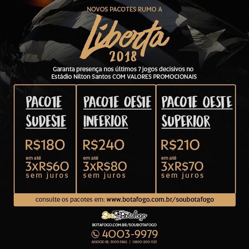 Pacotes promocionais lançados pelo Botafogo nesta terça (Foto: Divulgação)