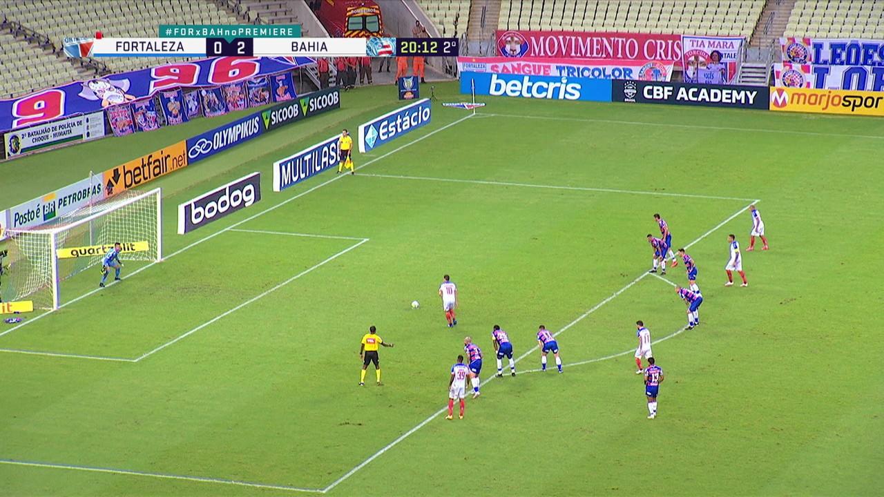 Gol do Bahia! Rodriguinho bate pênalti, Felipe defende e o próprio atacante pega o rebote pra ampliar, aos 20' do 2º tempo