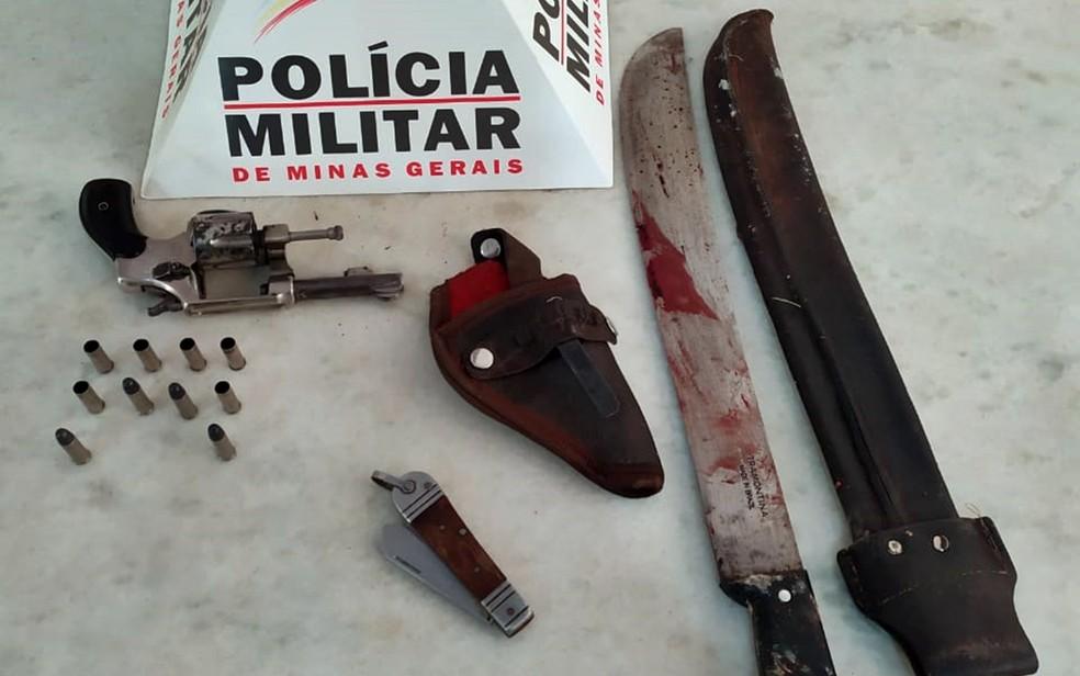 Homem é morto a tiros após atacar policial militar com golpes de facão em Borda da Mata — Foto: Polícia Militar