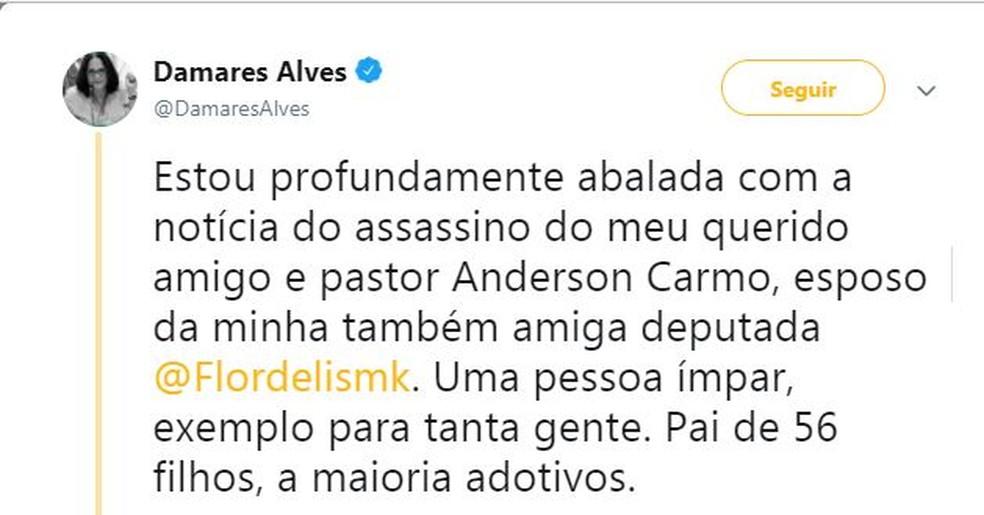 Ministra Damares Alves lamentou o caso nas redes sociais. — Foto: Reprodução/Twitter