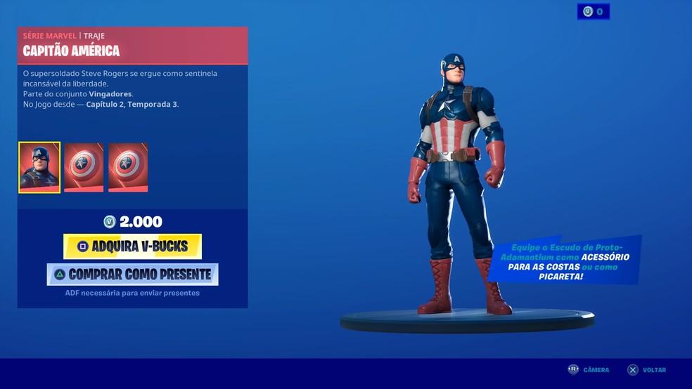 Skin do Capitão América chega ao Fortnite — Foto: Reprodução