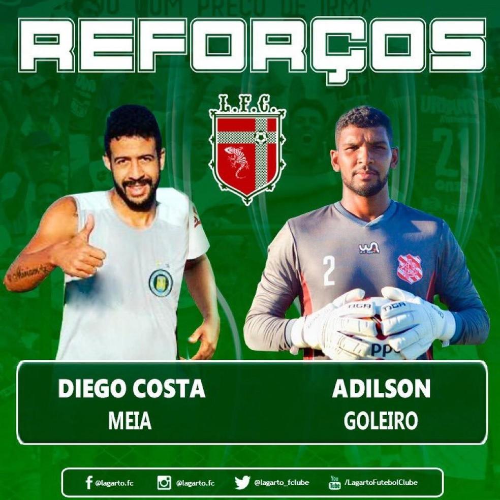 c065d6476 ... Mais dois contratados são anunciados pelo Lagarto — Foto  Divulgação