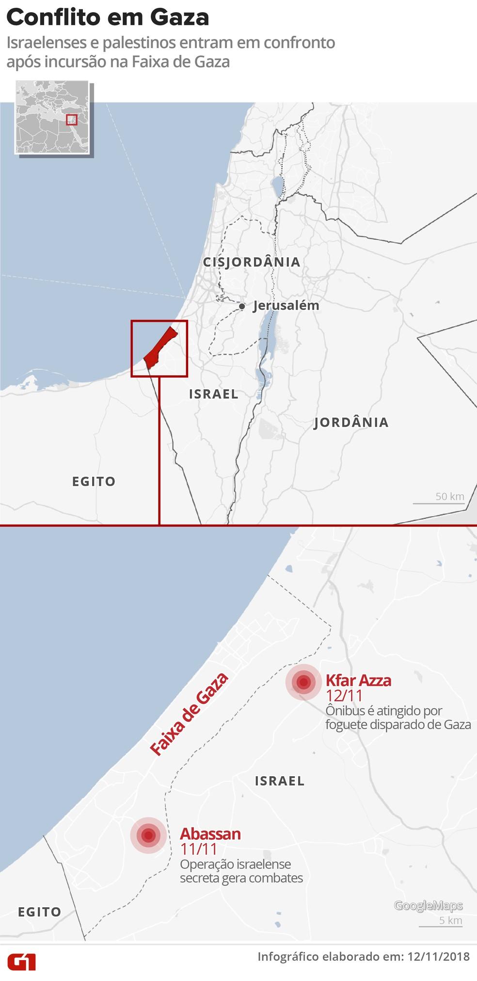 Mapa mostra conflito entre israelenses e palestinos — Foto: Igor Estrella/G1