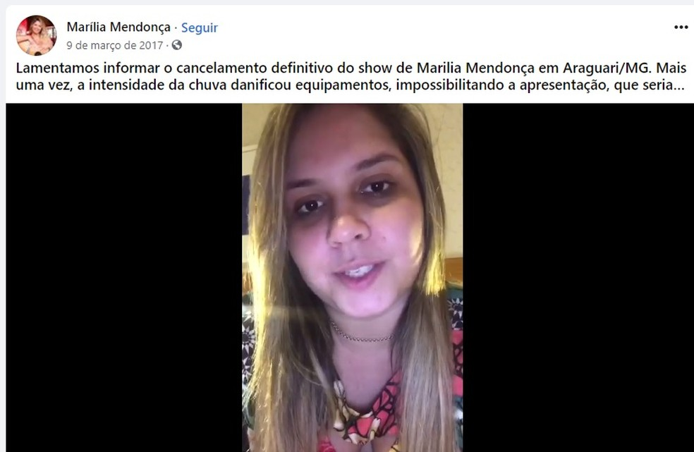 Marília Mendonça se desculpou pelas redes sociais após show cancelado em Araguari — Foto: Reprodução/Facebook