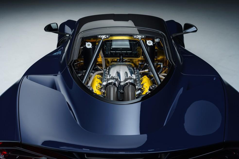 Hennessey Venom F5 tem motor V8 6,6 litros de 1.842 cv de potência e 165 kgfm de torque — Foto: Divulgação