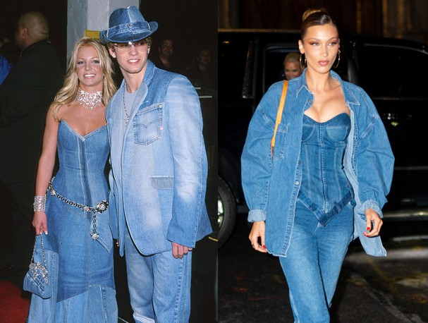 Britney Spears e Justin Timberlake X Bella Hadid (Foto: Getty Images)