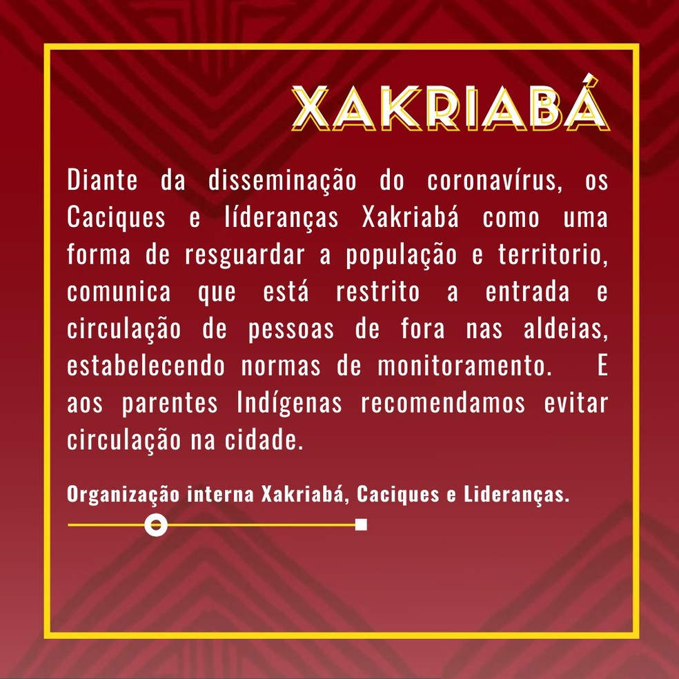 Alerta dado aos índios Xakriabá sobre o novo coronavírus — Foto: Célia Xakriabá/Arquivo pessoal
