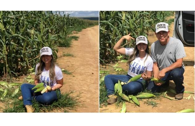 Waleria Motta, mulher de Caio, e o pai, Francisco, mostram extensão da plantação de milho (Foto: Reprodução)