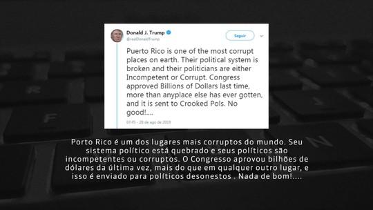 Trump faz uma série de críticas a Porto Rico