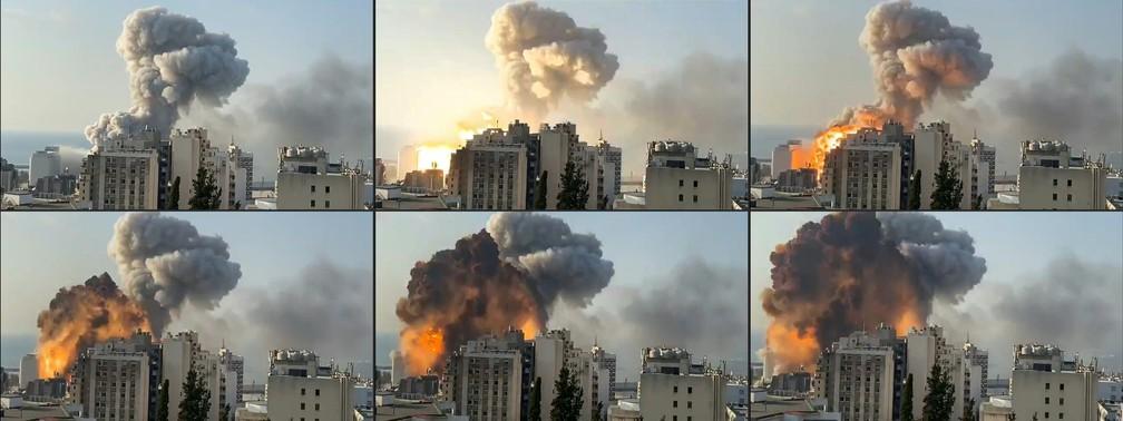 4 de agosto - Combinação de imagens mostra bola de fogo explodindo em Beirute, Líbano — Foto: Mouafac Harb/AFP