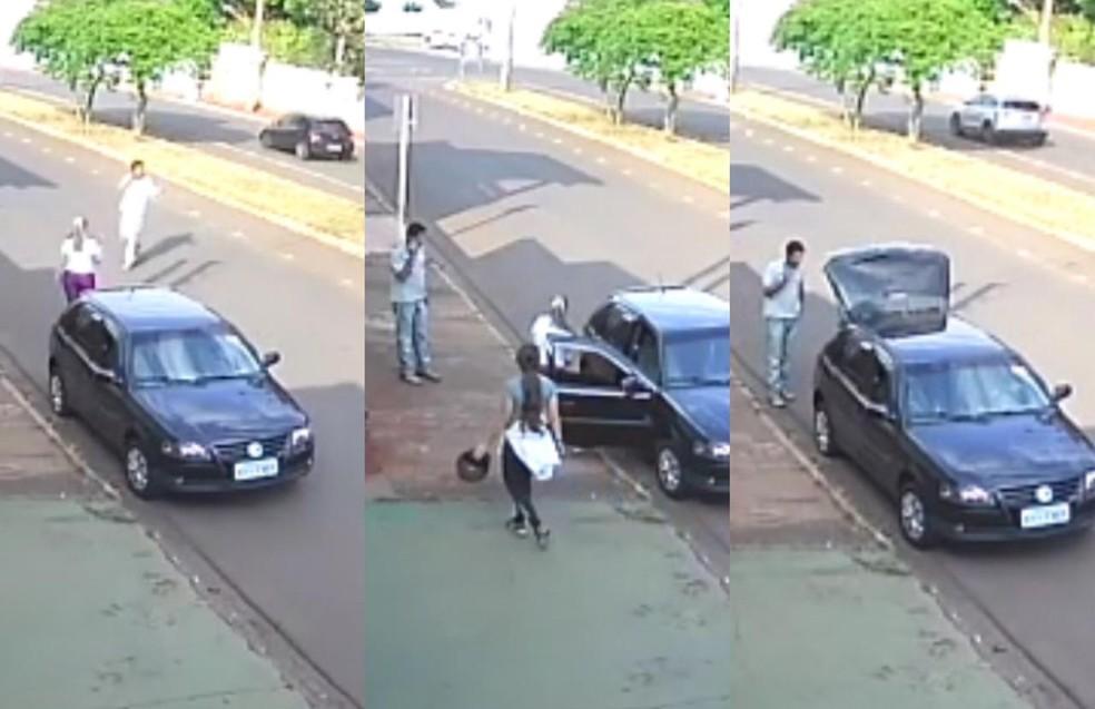 Imagem mostra suspeito abordando Mariana Bazza e amiga dela na frente de academia — Foto: Reprodução/TV Globo