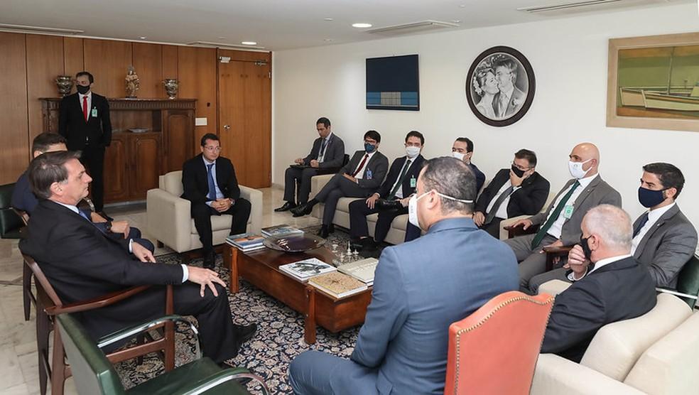 Reunião de dirigentes com Bolsonaro nesta terça-feira — Foto: Marcos Corrêa/PR