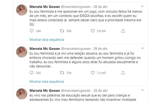 Tuítes de Marcela, no dia 28 de abril (Foto: Reprodução)