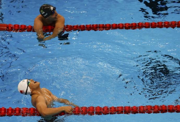 Daniel Dias Junsheng Li 100m peito Paralimpíada Rio (Foto: Ricardo Moraes / Reuters)