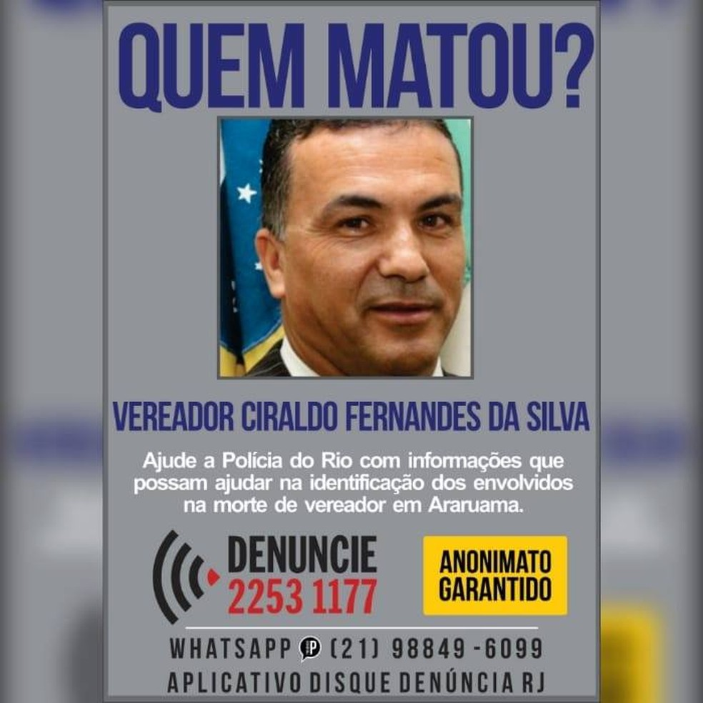 Disque Denúncia busca informações sobre morte de vereador de Araruama, no RJ  — Foto: Divulgação/Portal dos Procurados