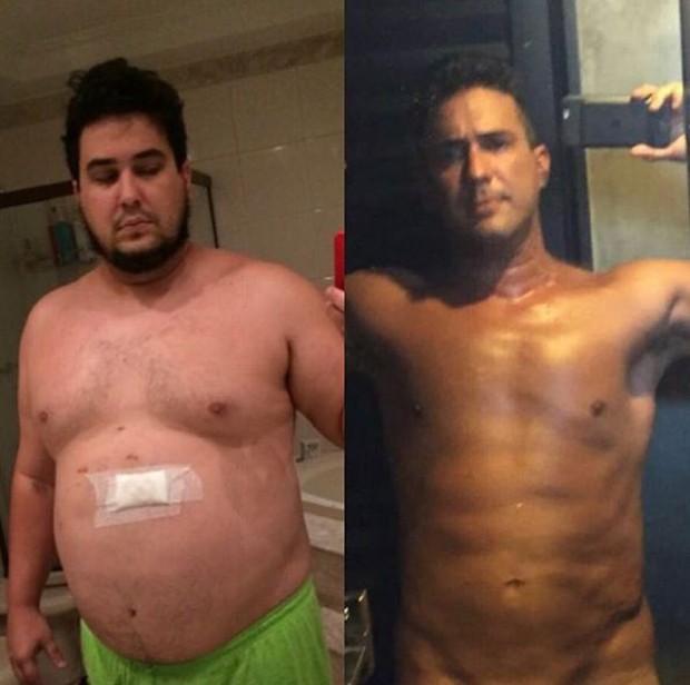 André Marques mostrando o seu antes e depois após eliminar 70 quilos (Foto: Reprodução/Instagram)