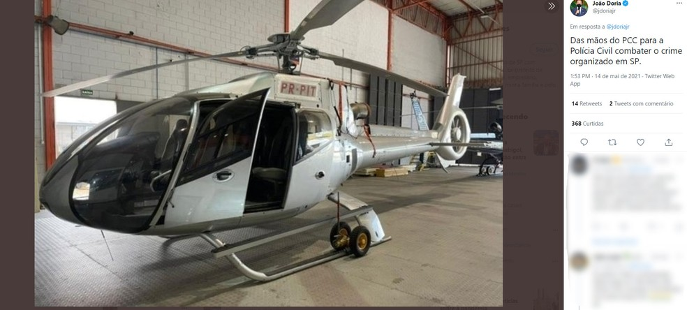 Em postagem, governador disse que helicóptero agora faz parte da Policia  — Foto: Reprodução/Twitter