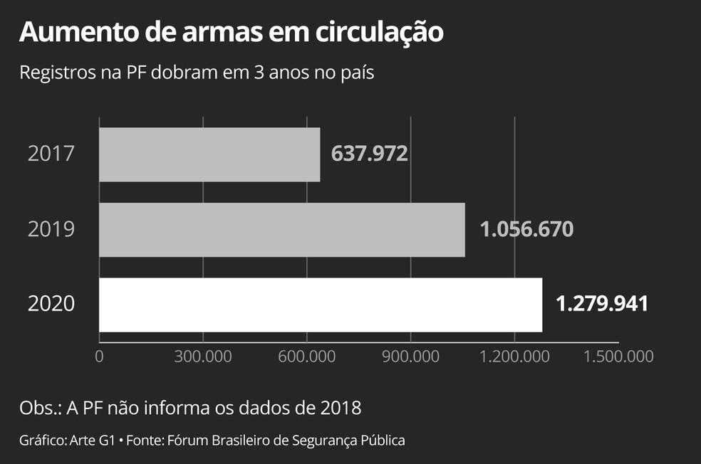 Número de armas nas mãos de civis dobra em três anos — Foto: Elcio Horiuchi/G1