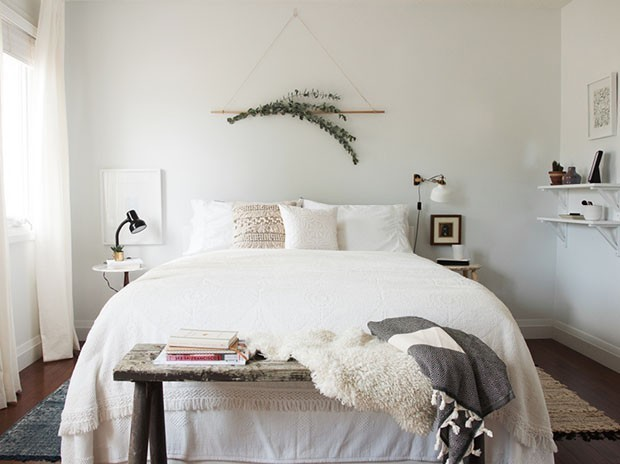 Boho Bedroom Shelf Above Bed