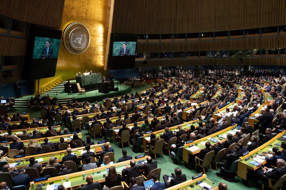 Jair Bolsonaro durante discurso na 74ª sessão da Assembleia Geral das Nações Unidas (ONU), em Nova York  — Foto: Don Emmert / AFP