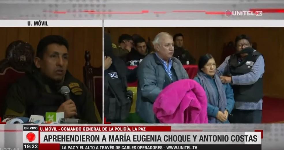 Maria Eugenia Choque Quispe e Antonio Costas, presidente e vice-presidente da Bolívia foram apresentados presos pela polícia — Foto: Reprodução/Youtube/Unitel Bolívia