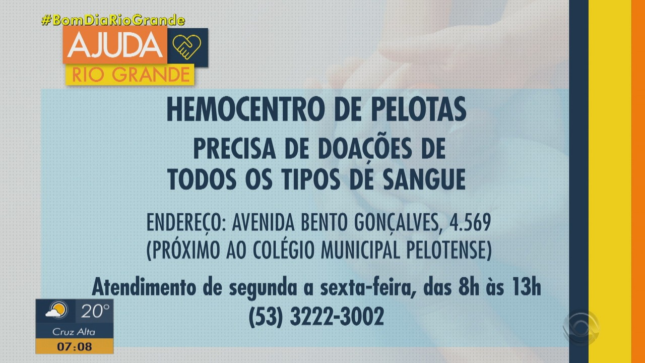 Hemocentro de Pelotas precisa de doação de todos os tipos sanguíneos