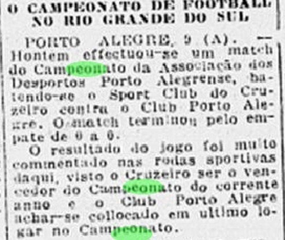 Relato de disputa de jogo de futebol no Rio Grande do Sul em 1918 — Foto: Reprodução/Jornal do Brasil