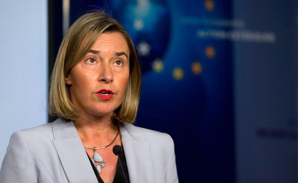 Chefe da diplomacia europeia, Federica Mogherini, defendeu acordo nuclear alcançado com o Irã em 2015 (Foto: Virginia Mayo/ AP)