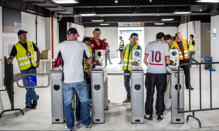 Acesso por biometria na Arena da Baixada, estádio do Atlético-PR