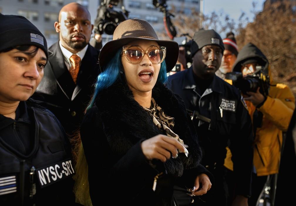 Cardi B em imagem feita durante chegada ao tribunal de Nova York em dezembro de 2018 — Foto: AP Photo/Andres Kudacki/Arquivo