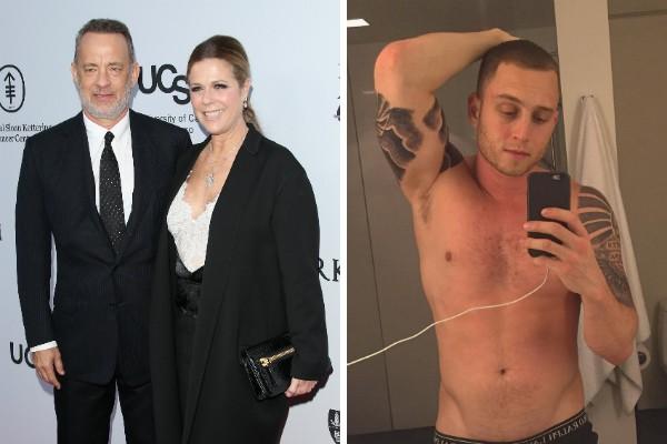 O ator Tom Hanks, sua esposa e o filho, Chester Hanks (Foto: Getty Images/Instagram)