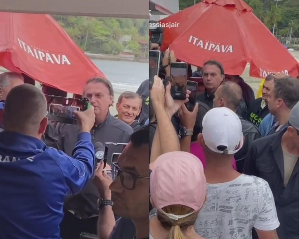 Presidente Jair Bolsonaro (sem partido) falou com a imprensa durante passeio nesta segunda-feira (11) em Guarujá, SP — Foto: Reprodução/Redes sociais