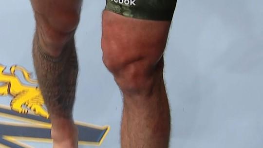 Peso-pesado, Daniel Spitz, tem joelho massacrado com os chutes de Tanner Boser