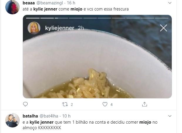 Fãs repercutem refeição de Kylie Jenner (Foto: Reprodução/Instagram)