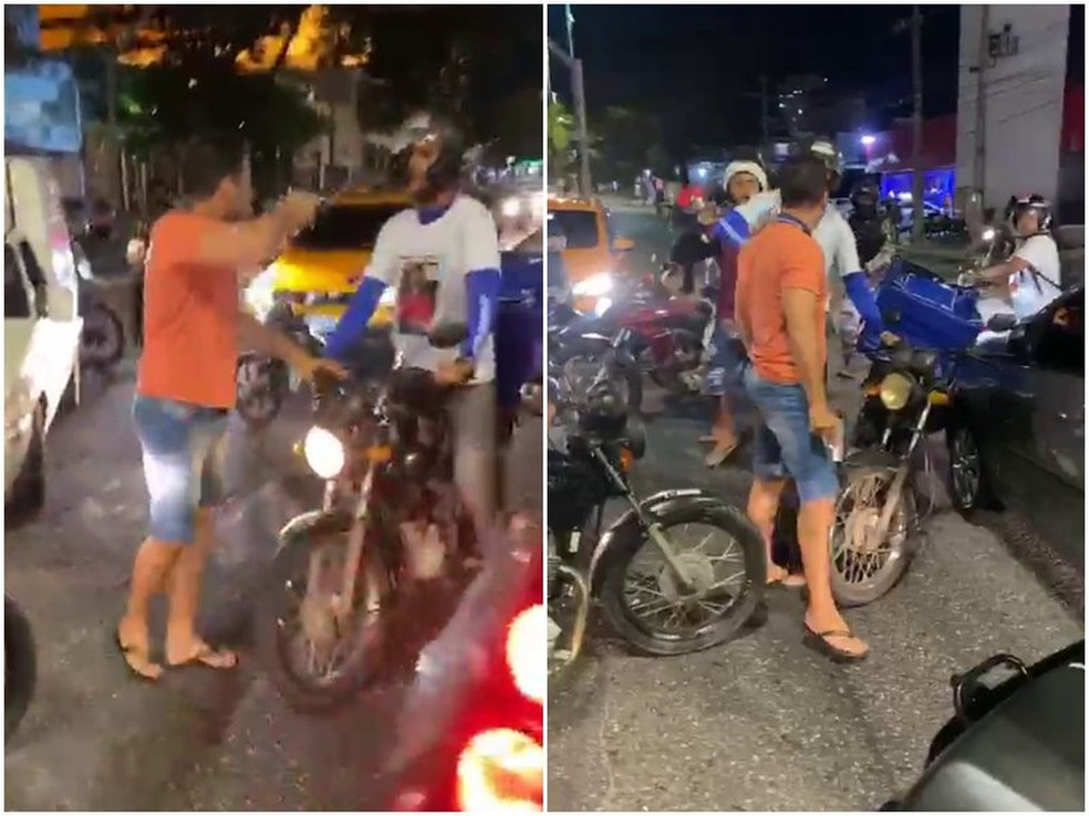 PM vai investigar policial de folga que sacou arma em protesto de motoboys em João Pessoa — Foto: TV Cabo Branco/Reprodução