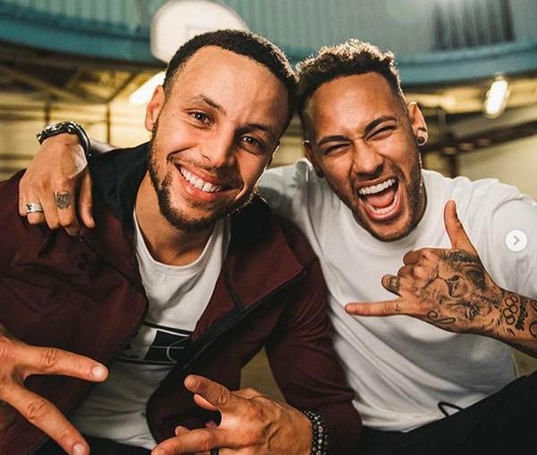 Stephen Curry com Neymar (Foto: Instagram)