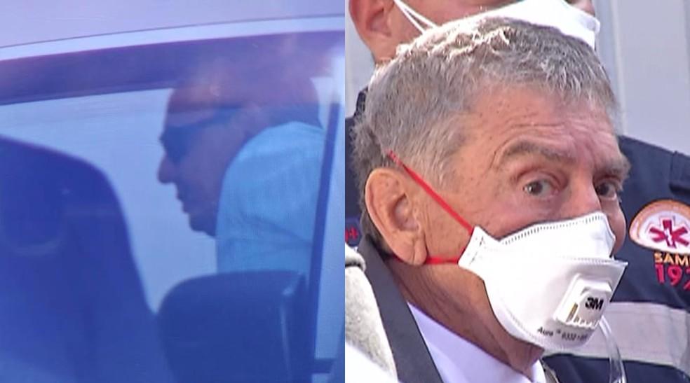 Carlos Evaristo e Chico Bezerra, que precisou ser atendido pelo Samu ao passar mal após ser preso — Foto: Alessandro Batata/TV Diário