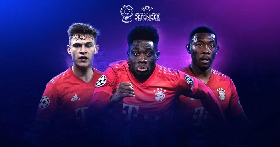 Kimmich, Davies e Alaba concorrem ao prêmio da Uefa de melhor defensor na Champions — Foto: Divulgação / Uefa