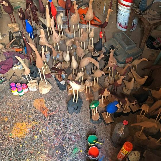 As aves que habitam o ateliê do artista paraibano Bento (Foto: RENAN QUEVEDO)