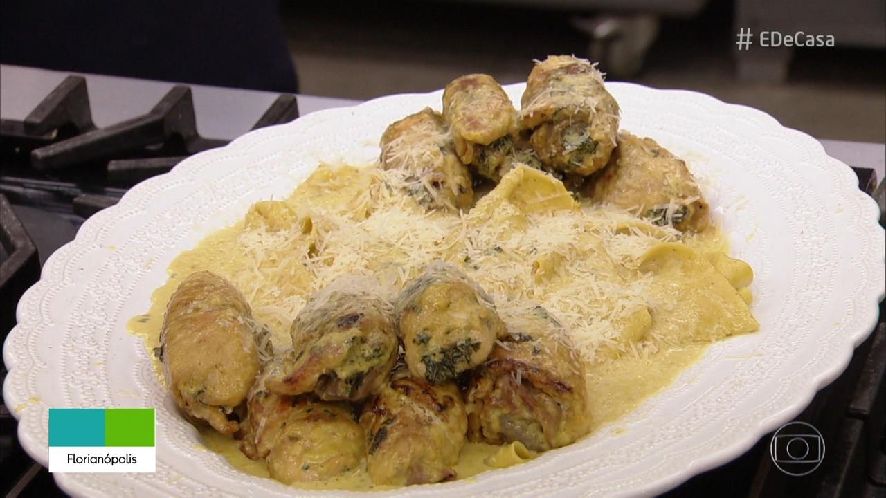 Pappardelle com enroladinho de frango do Chef Ravioli